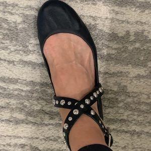 Steve Madden sz 8 black studded ankle wrap flats